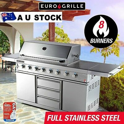 BBQ Outdoor Barbeque Gas NEW Euro-Grille 8 Burner 100% Stainless Steel Kitchen