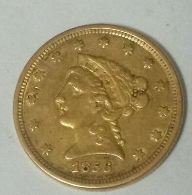 1856 United states gold two and half dollar quarter  eagle