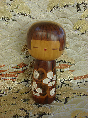 Antique Japanese Kokeshi Wooden Doll Painted White Flowers Stamp Signed Htf Rare