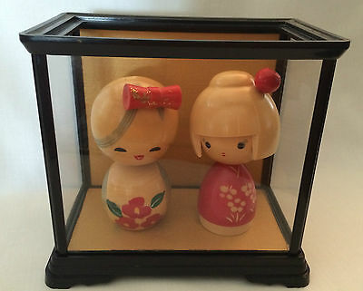 Japanese  Wooden  2 Kokeshi Doll  In Cream & Red Handpainted & Etched