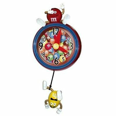 M&M Red & Yellow M&M's Pendulum Wall Clock w/ Whimsical Sounds *2011* NEW in BOX