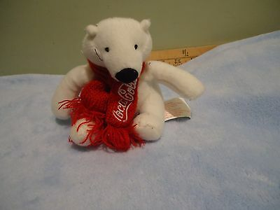 "White Polar Bear Coca Cola Scarf and tag Plush 4"" stuffed animal toy EUC"