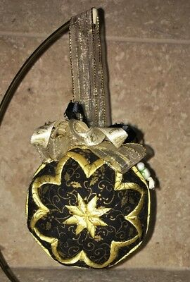 """NEW Handmade 3"""" Quilted Fabric Christmas Ornament Ball Black Gold Holly Print"""