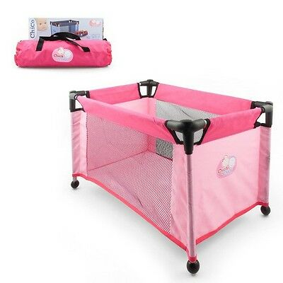 Chica Baby Doll Portable Travel Cot Pink Prentend Dolly Bed with Carry Bag Toy