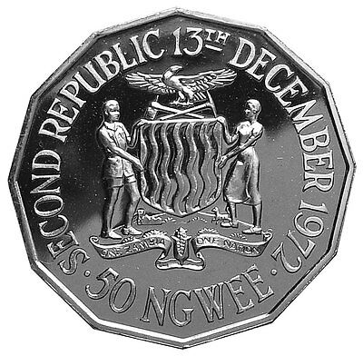 Zambia Commemorative 50 Ngwee 1972 Proof 2,000 Minted