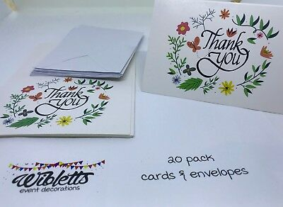 20 White Floral Wreath  Flowers Leaves Thank You Cards & Envelopes Wedding Party