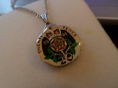 Vintage Enamelled 20 Pence Coin 1994 Pendant & Necklace. Birthday Christmas Gift
