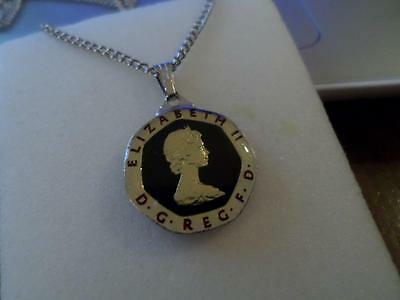 Vintage Enamelled 20 Pence Coin 1982 Pendant & Necklace. Birthday Christmas Gift