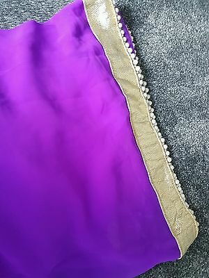 bollywood indian partywear ethnic summer saree with stitched blouse pearl border