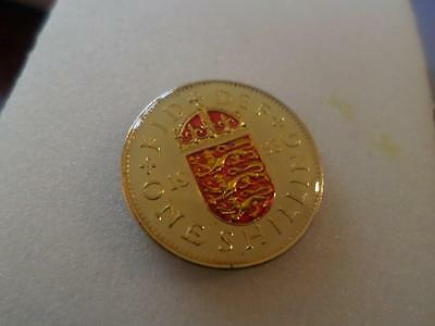 Vintage Enamelled Shilling Coin. Lucky Charm. Birthday Xmas Christmas Present