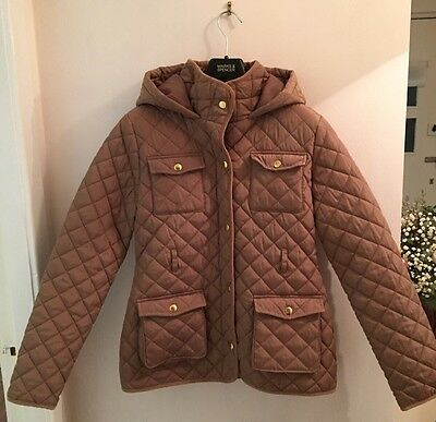 M&S Padded/quilted Brown Jacket/coat With  Hood & Stormwear. Age 13-14