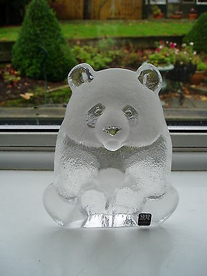 Mats Jonasson Sweden Studio Art Glass Panda Wildlife Sculpture Paperweight Label
