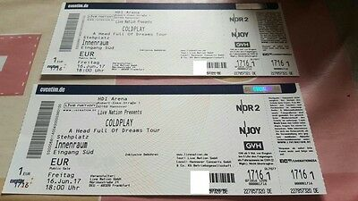 2 Coldplay tickets //16 June 2017 // HDI ARENA HANNOVER // STEHPLÄTZE INNENRAUM