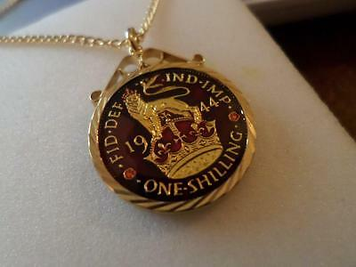 Vintage Enamelled Shilling Coin 1944 Pendant & Necklace. Birthday Christmas Gift