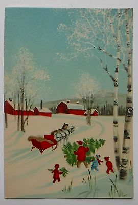 Vintage Christmas Greeting Card Country Scene