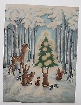 Vintage Christmas Greeting Forest Animals