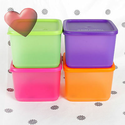 NEW Tupperware Square Rounds set of 4 x 1 Litre storers Pink Purple Green Orange