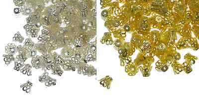 Silver Gold Plated 5x6mm Filigree Style Bell Bead Caps Jewellery Craft Findings