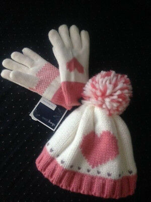 New Girls Matching Hat And Gloves Set White With  Pink Heart