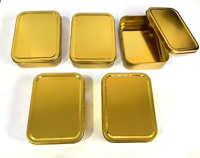 5 x Plain Gold Coloured  Storage Tins (110 x 80 x 30mm) 2oz Unhinged