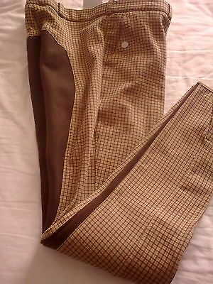Ladies Breeches Cream and Brown Check with Brown Full Seat 28R