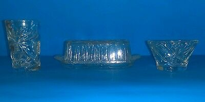 Set Of 3 Anchor Hocking Star Of David Butter Dish, Small Juice Cup, & Punch Cup