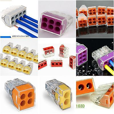 Electrical Push Connector Wire Cable Block Terminal 2 3 4 6 8 Pin PCT Junction