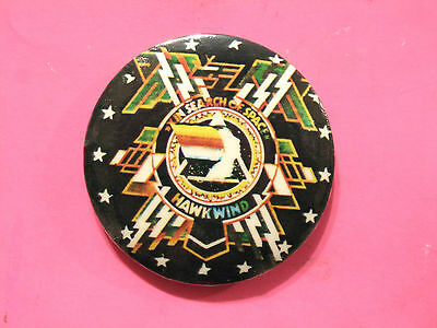 """HAWKWIND VERY LARGE 70's VINTAGE BUTTON BADGE PIN UK IMPORT """"IN SEARCH OF SPACE"""""""