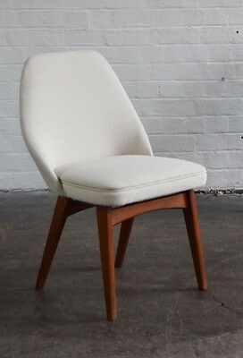 Retro Vintage Benchair Dining or Desk Chair in Cream Wool