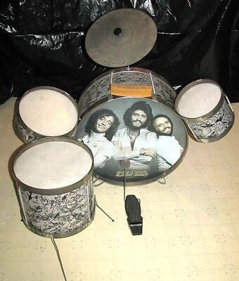 Rare 1979 Bee Gees Noble & Cooley Tin Toy Children 5 Piece Drum Set