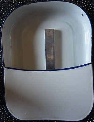 """Antique RECTANGLE White with Blue Enamelware Hospital Bed Pan 16"""" x 12"""" x 2"""""""