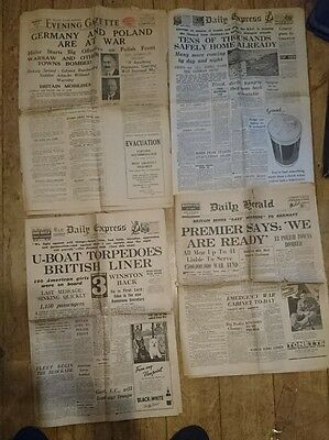 Lot of Vintage Newspapers Announcing WW2 1939 Daily Express, Herald
