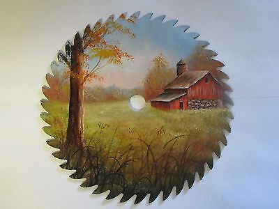 7.25 hand painted saw fall scene red barn