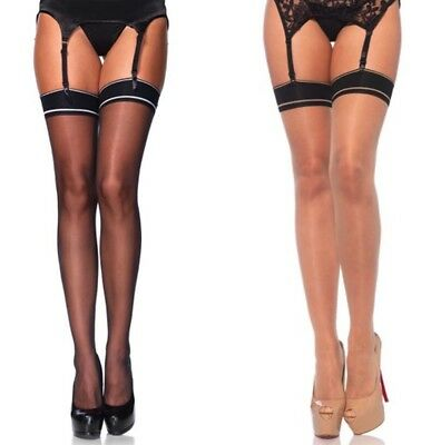 Leg Avenue Sheer Black Or Nude Stockings With Woven Striped Band Top One Size