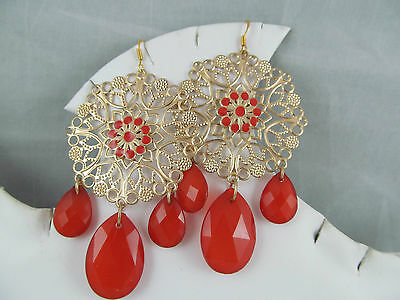 Vintage GOLD FLOWER with DARK ORANGE FACETED BEADS LARGE DANGLE EARRINGS, Unique