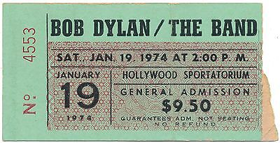 BOB DYLAN & THE BAND Hollywood, FL full ticket stub afternoon show 1974 VG cond