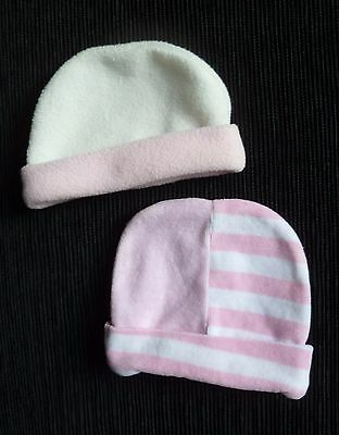 Baby clothes GIRL newborn 0-1m 2 pink soft, cosy hats fleecey/velour  SEE SHOP!