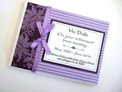 Personalised Purple Retirement/wedding/gift Guest Book - Any Colour