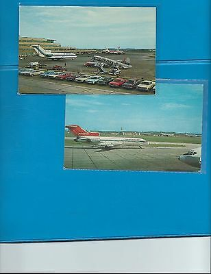 Pittsburgh Airport lot of 2 60s jets  postcards