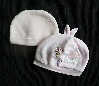 Baby clothes GIRL 0-3m 2 soft pink hats velour/cotton lined&fleecy SEE SHOP!