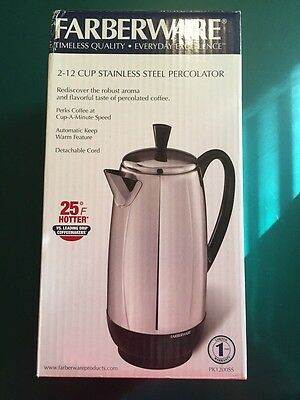 Brand New Farberware 2-12 Cup Percolator Stainless Steel Electric Coffee Pot