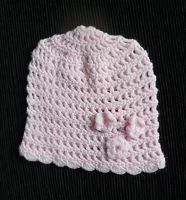 Baby clothes GIRL 0-3m  soft pink beautiful hand crochet hat 3 flowers SEE SHOP!