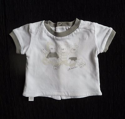 Baby clothes UNISEX BOY GIRL premature/tiny  5lbs/2.3kg white/grey bears SS top
