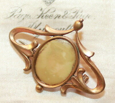 Vintage antique Art Nouveau rolled gold photo memory brooch faded picture