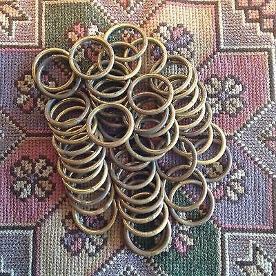 48 Antique/vintage Brass Curtain Pole Rings