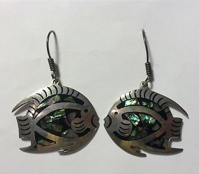 Sterling Silver Fish Earrings Signed 925 TR-58 Mexico - Abalone - A924