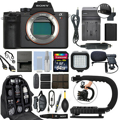 Sony Alpha a7R II Mirrorless 42MP 4K Digital Camera Body + 64GB Pro Video Kit