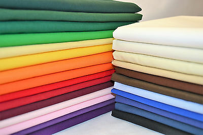 100% Cotton Fabric Sheeting Plain Solid Colours per metre Craft, Quilting