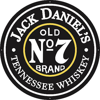 """Jack Daniels Old No. 7,  36"""" Round Metal Sign -Free Shipping"""