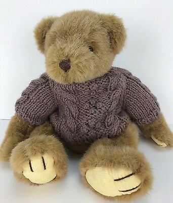 """HUNTINGTON  TEDDY BEAR Russ Berrie 12"""" Plush Brown Cable Knit Sweater #1674"""